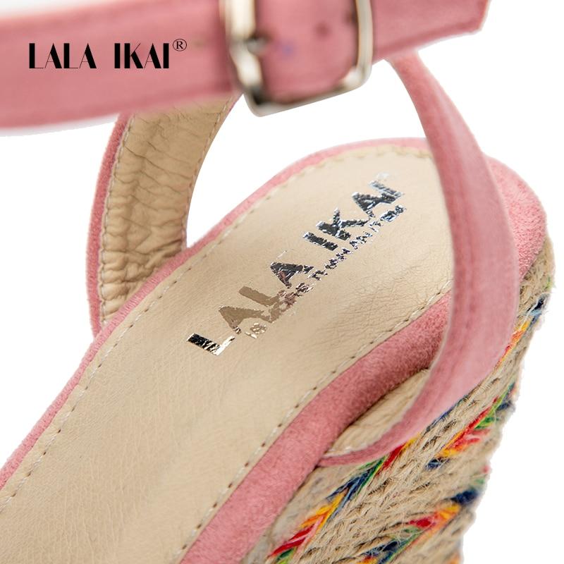 Lala Ikai 014c2089 5 Femmes Espadrilles Sandales Haute Croix Heels Heels Flock Liée D'été Pink 49 Boucle Compensées 9 Heels pink black Talons Toe Ouvert Peep 13 rrdxZSwq