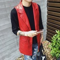 2016 Fashion Red Army Green Slim Fit Gilet Mens Vest Sleeveless Sequin Dance Jacket Long Motorcycle Leather Vest Men Waistcoat