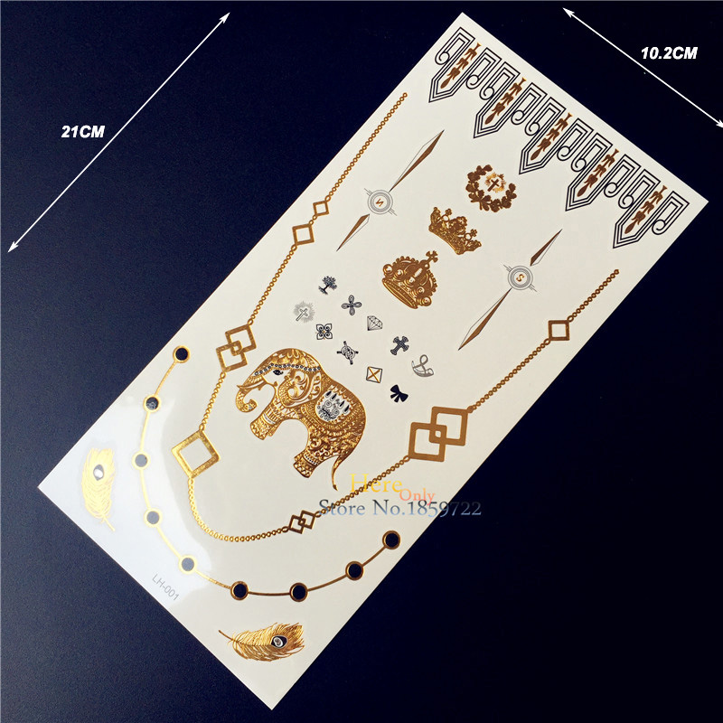 Gold Tattoo Elephant Ganesha Crown Peacock Feather, Waterproof Temporary Tattoo Necklace, Hand Finger Cute Cross Bowknot Tatoos