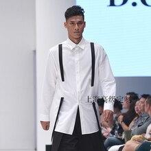 XS-5XL! новая мужская одежда модная короткая цветная декорации с лентой рубашка тонкая рубашка плюс размер певица костюмы