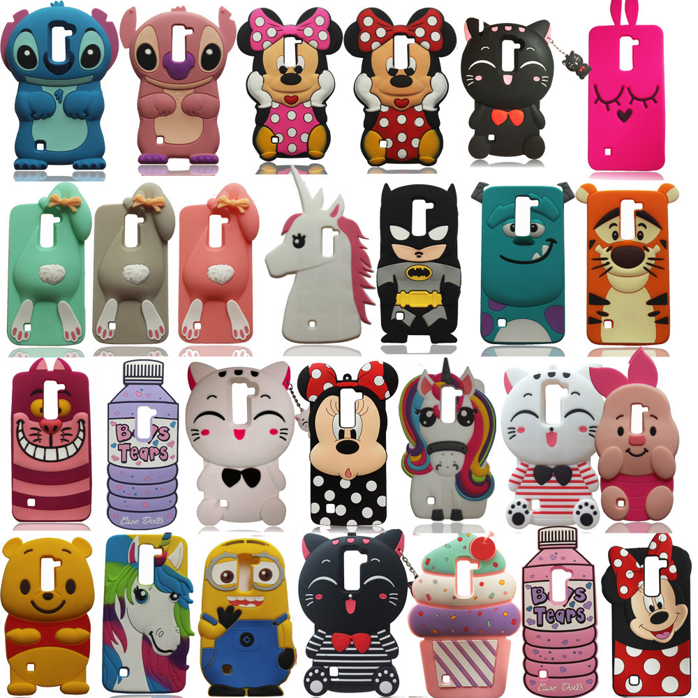 3D Cartoon Soft Silicone Phone Case Back Cover Skin For LG G4 Stylus Note LS770 / K7 Q7 K10 Q10 K8