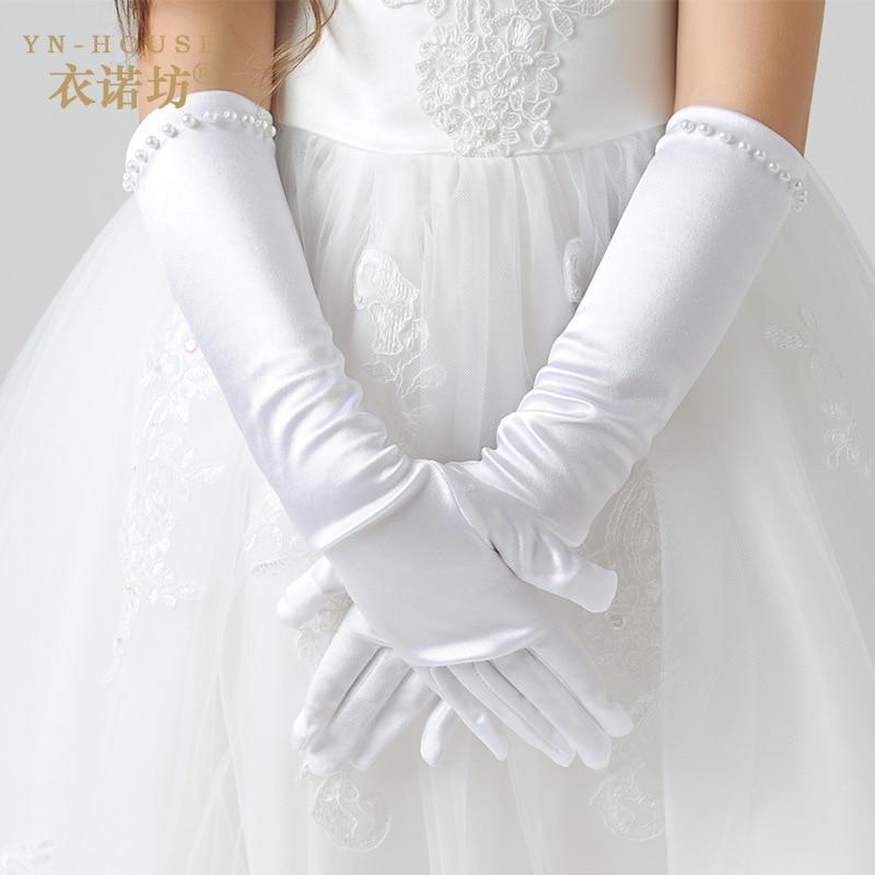 Newest Fashion Kids White Gloves Stretch Satin Long Finger Gloves For Flower Girl Children Party Beading Long Gloves kids