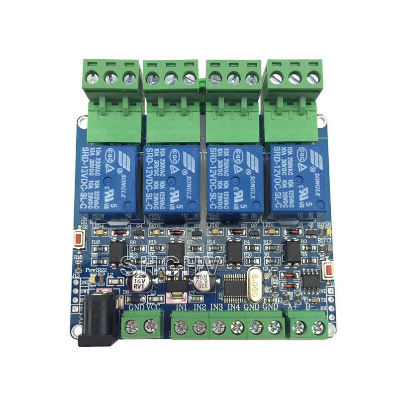 MODBUS-RTU 4 Way Relay Module STM8S103 MCU Two Development RS485 Communication TTL