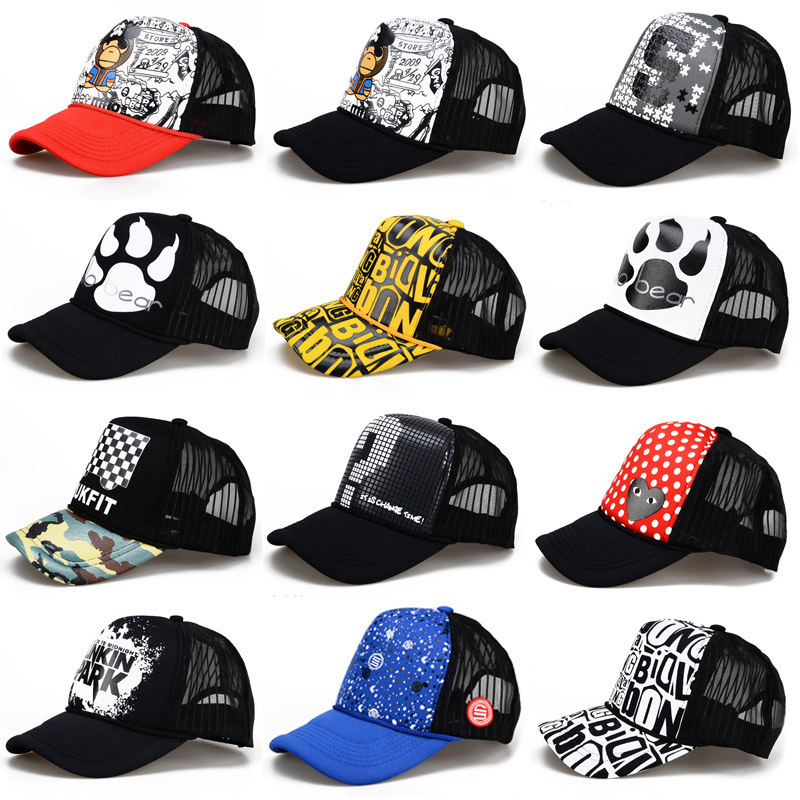2018 Hip Hop Black Print Curved Baseball Caps Summer Mesh Snapback Hats For Women Men casquette Trucker Cap 28 Styles 2018 cc denim ponytail baseball cap snapback dad hat women summer mesh trucker hats messy bun sequin shine hip hop caps casual