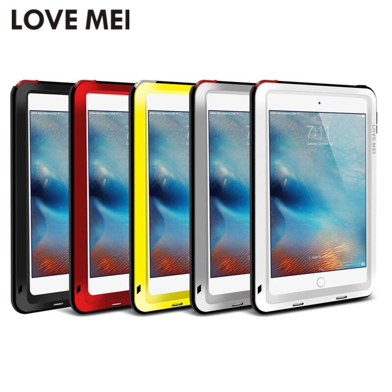 Prix pour Amour mei puissant antichoc en aluminium case couverture pour apple ipad air/air 2/mini 2/3/4/5/6 caseheavy w/gorille trempé verre