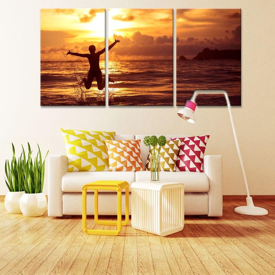 ᗗ3 unids impresión cartel lienzo arte de la pared salida del sol ...
