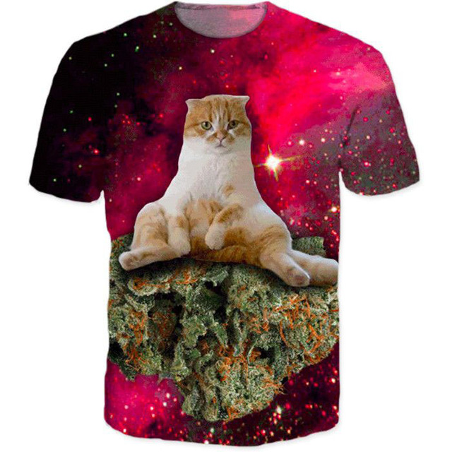c36152ba96a7 Kush Kitten in Space Tee cat sitting on weed in space galaxy 3d t shirt  tops tees women men summer style tshirt funny t-shirt