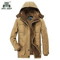 AFS JEEP 2017 mężczyzna zimy zagęścić ciepłe kapturem zieleń wojskowa kurtka płaszcz man casual marka bawełna polar gruba kurtka khaki płaszcze