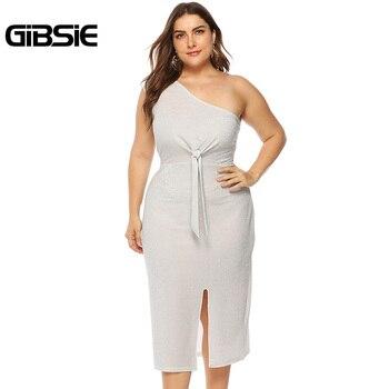 GIBSIE Plus Size Sexy One Shoulder Club Party Dress Women Summer 2019 Knot Front Sleeveless High Waist Sheath Split Long Dress