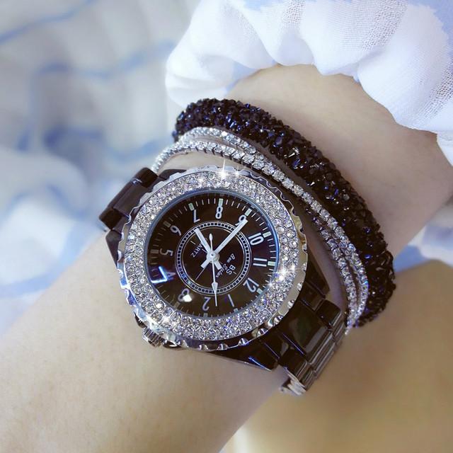 Women Fashion White Ceramic Ladies Quartz Wristwatches