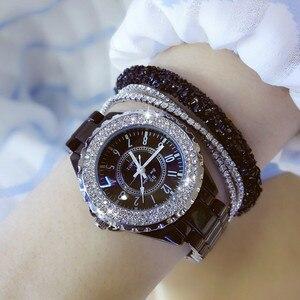 Image 4 - 2018 top marke luxus armbanduhr für frauen weiß keramik band damen uhr quarz mode frauen uhren strass schwarz BS