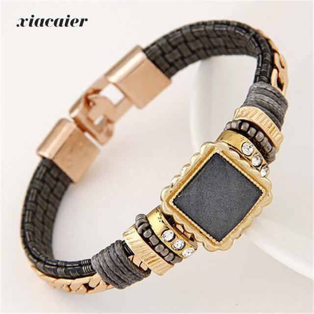Xiacaier Steampunk Bracelets Bangles For Women Men Jewelry Handmade Vintage Mens Leather Bracelet Gold Plate Magnetic