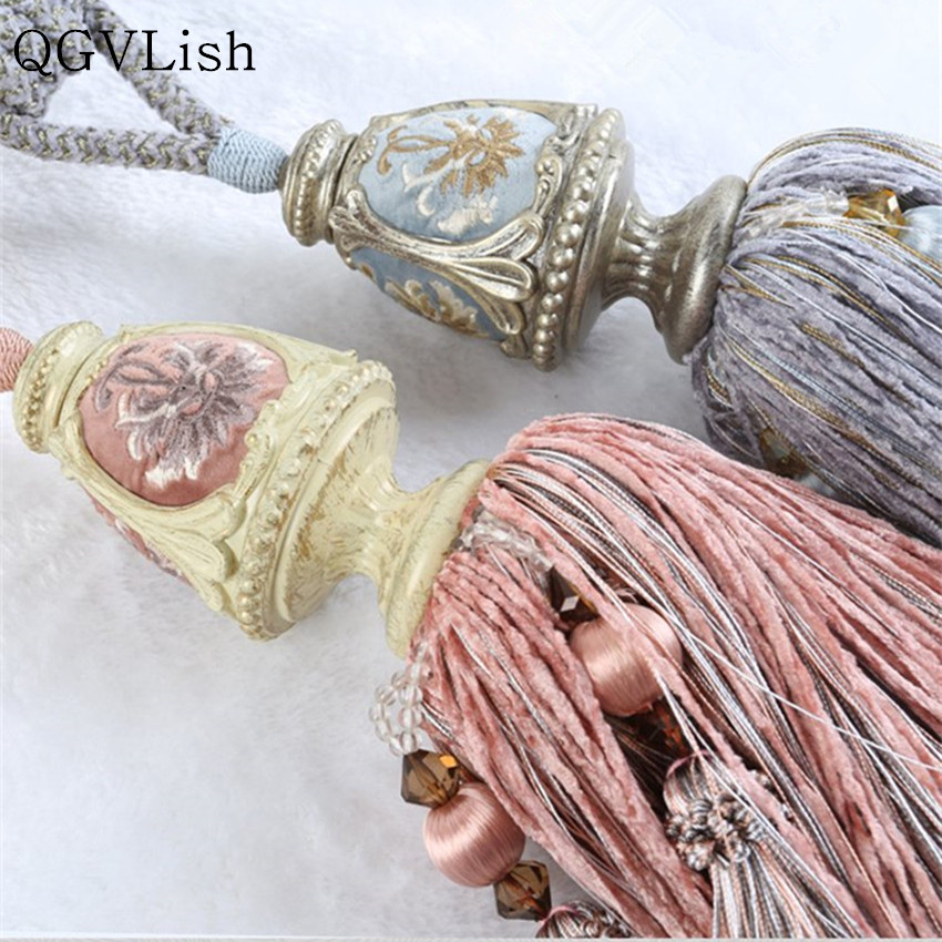 QGVLish Luxury 2Pcs Retro Curtain Tiebacks Long Tassel Fringe Curtain Hanging Belts Rope Brush Buckle Straps