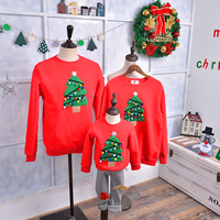 Winter Warm Christmas Tree Pattern Family Matching Outfits Clothing Kids T Shirt Add Wool Warm White