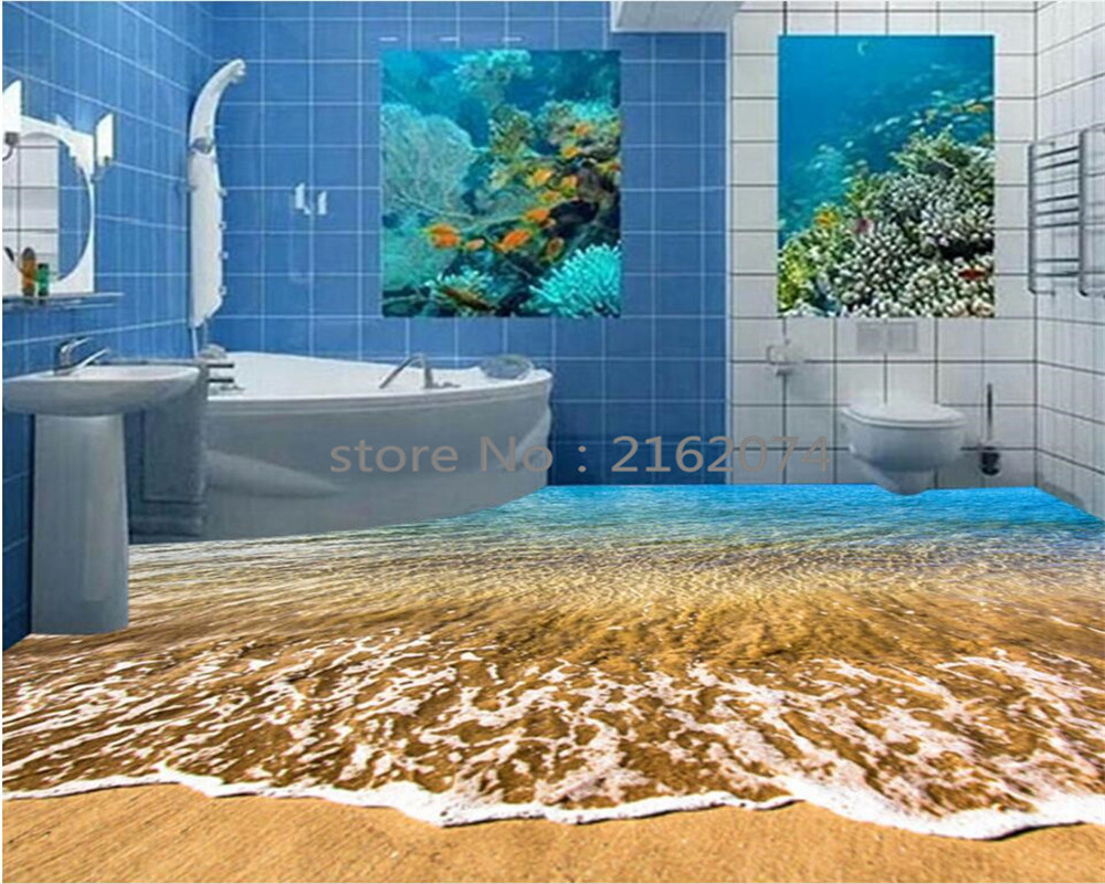 Beibehang Custom Flooring Mural Stereo Ocean Seawater Bedroom Bathroom Floor Wallpaper PVC Waterproof Self - adhesive wallpaper custom floor sticker decor mural wallpaper universe galaxy 3d bathroom living room pvc self adhesive waterproof floor wallpaper