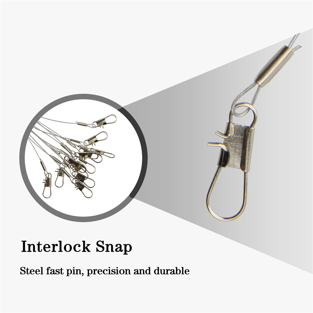 24pcs Anti Winding Fishing Stainless Seel Wire Leader With Swivel Snap Leaders
