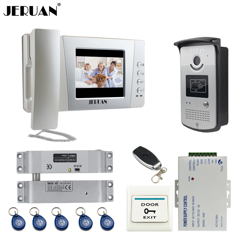 JERUAN Home wired 4.3`` LCD color screen Video Door Phone intercom System Kit +700TVL RFID Waterproof IR Night vision Camera jeruan home 7 lcd screen video door phone entry intercom system kit 700tvl rfid access ir night vision camera exit button