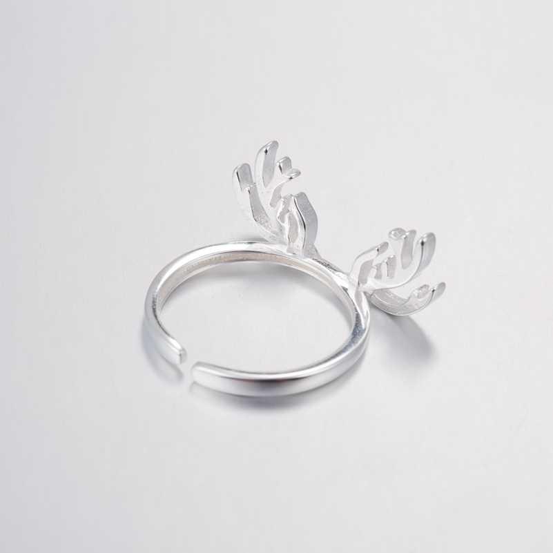 SMJEL ผู้หญิงแหวนเงิน 925 คริสต์มาส Reindeer Antlers แหวนหญิงปรับขนาดใหม่ black Friday เครื่องประดับ anillos mujer