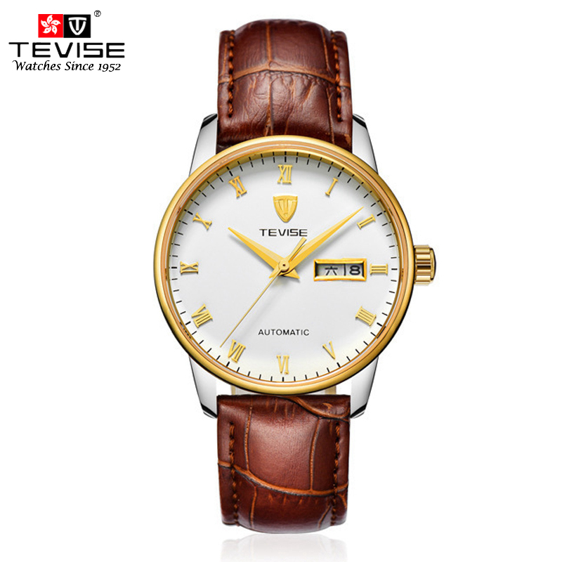 TEVISE Automatic Self-Wind Watch Mechanical Men Classic Gold Leather Steel Calendar Auto Date Wrist Watches Reloj Hombre T80 original binger mans automatic mechanical wrist watch date display watch self wind steel with gold wheel watches new luxury