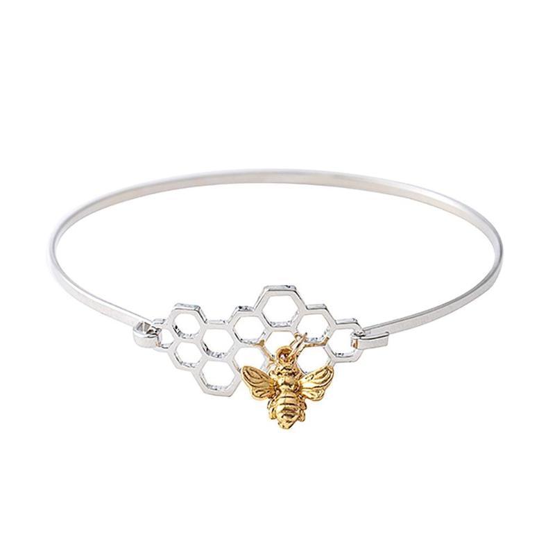 Cute Honeycomb Bracelet Beehive Honey Bee Link Chain Fashion Women Geometric Honeycomb Bangle Bee Pendant Charm Bracelet 2018