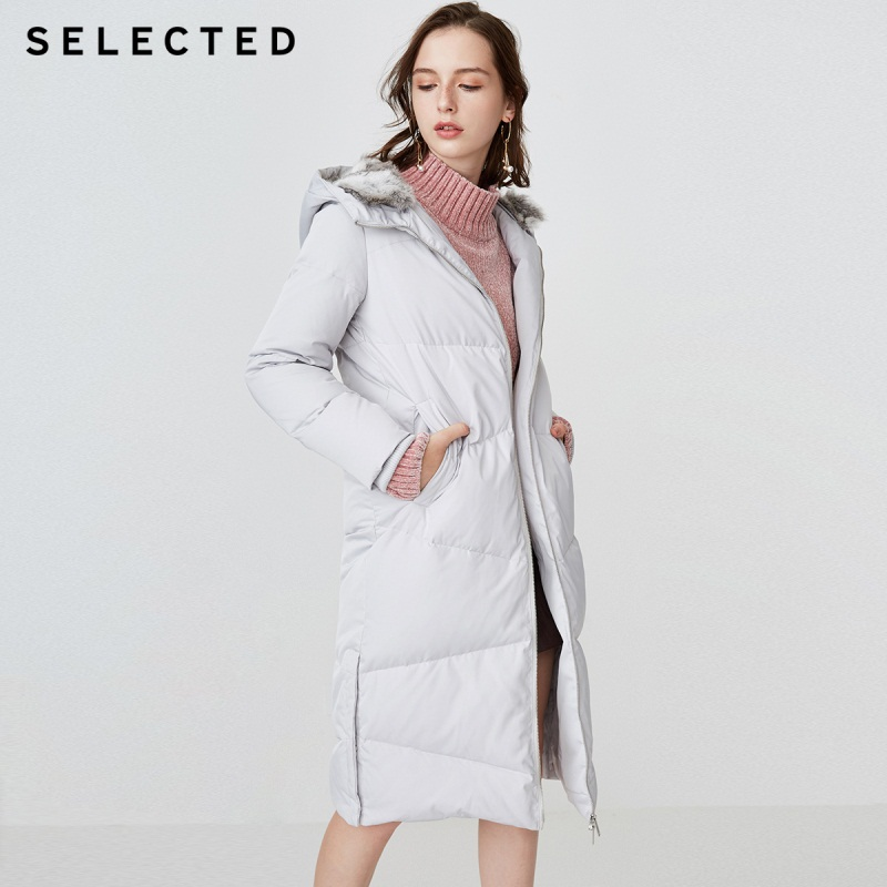 SELECTED blackrock s winter new female duck down rabbit fur hooded pure color long down jacket