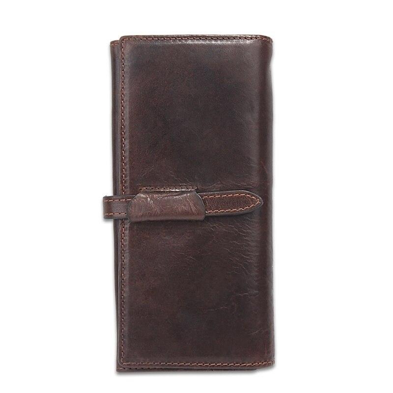Genuine Leather Men Wallets Unisex Vintage Famous Brand Design Card Holder Purse Coin Pockets Zipper Long
