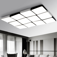 Z 12 Heads Stepless Dimming With Remote Control Modern Simple Rectangle LED Ceiling Light Fixture For