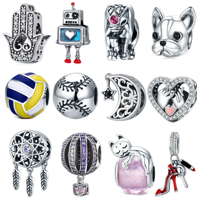 6a394766f INBEAUT Women Beads for Jewelry Making 925 Sterling Silver Cute Robot Cat  Dog Round Ball Charms fit Pandora Bracelet DIY Gifts