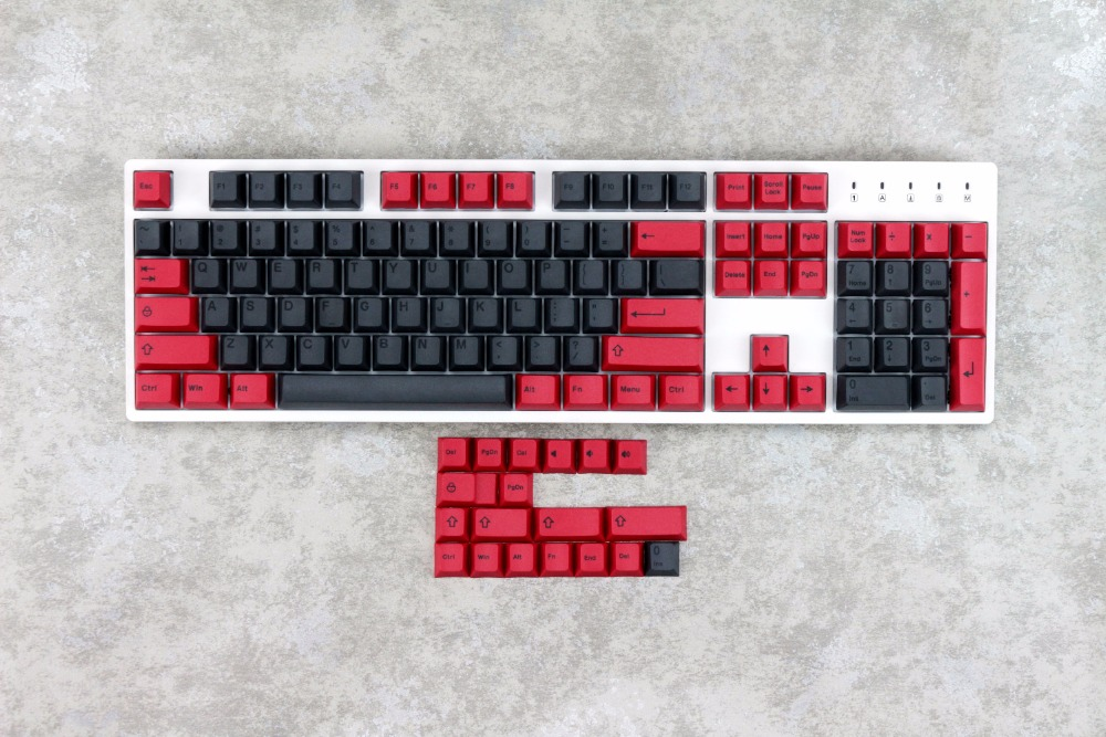 MP 123 Keys Dye Sublimation PBT Black Red Color Cherry Profile For Mechanical Gaming Keyboard