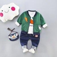 Kids Tracksuit for Baby Boys 3PCS Clothing Sets Rabbit Carrot Coat+ T shirt +Pants Tracksuit Boys Sport Suits Baby Clothes Set