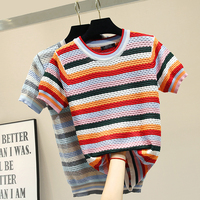 2019 New Summer Candy Color Rainbow Stripes Loose Short Sleeve Knitting Top All match O Neck Hollow Out Women Knitted T shirt