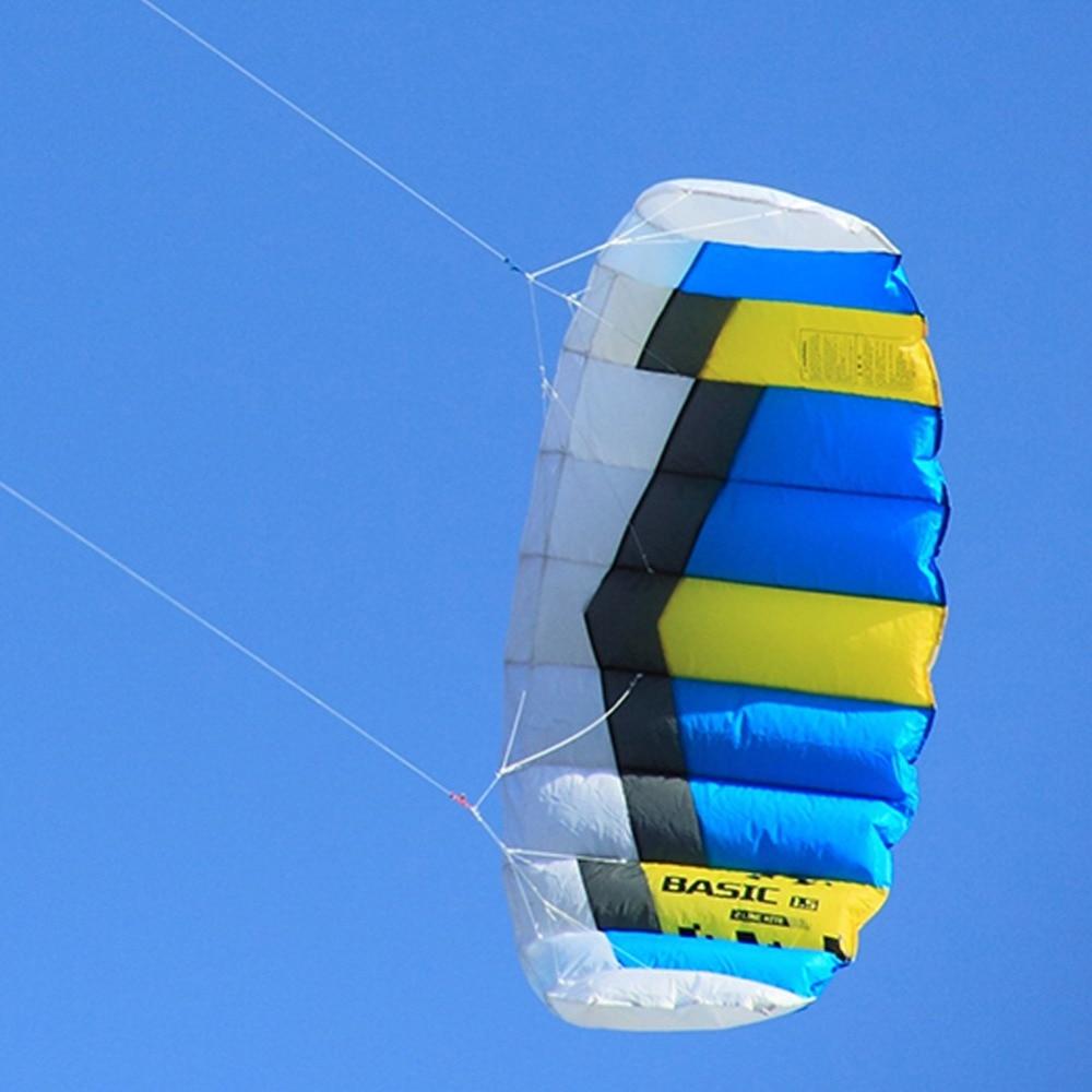 1.5sqm plage cerf-volant volant puissance cerf-volant double ligne Sport de plein air cascadeur cerf-volant avec sangle de poignet de chaîne de cerf-volant