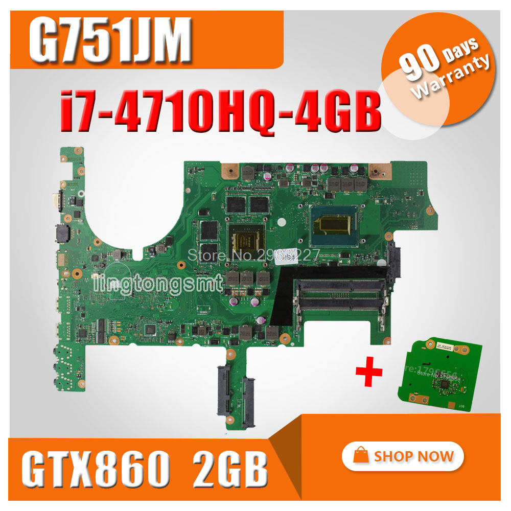 send board+G751JM Motherboard GTX860M 2GB REV2.2 i7 For ASUS G751J G751JM Laptop motherboard G751JM Mainboard G751JM Motherboard