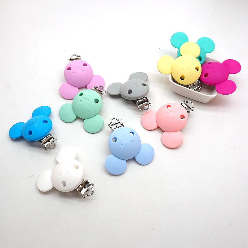 Chenkai 10PCS Silicone Mickey Pacifier Dummy Teether Chain Holder Clips DIY Baby Mouse Animal Nursing Toy Accessories BPA Free