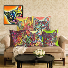 Home Decor Painted Pillowcase Decor Cushion Cover Linen Cotton Colorful Cat Printed Pattern Throw Pillow Cushion
