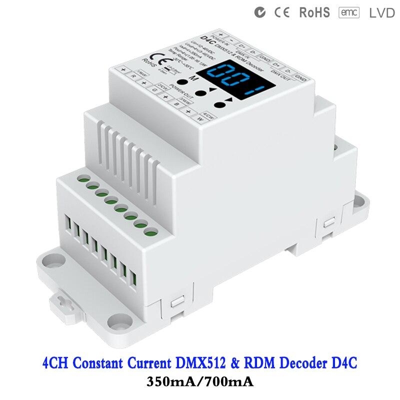 4CH постоянный ток DMX512 и RDM декодер D4C 350mA/700mA светодиодный контроллер DC12V 48V цифровой индикатор Digita для RGB/RGBW Светодиодная лампа