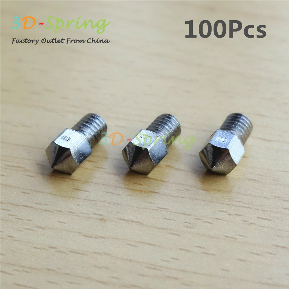 100Pcs 3D Printer Stainless steel Nozzle 0.3mm - 0.5mm M6 Screw thread For 1.75mm 3mm Filament High Quality flsun 3d printer big pulley kossel 3d printer with one roll filament sd card fast shipping