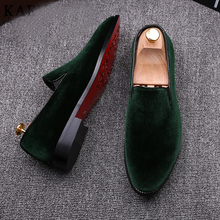 2016 Vintage Velvet Men Casual Shoe Summer Green Loafers Breathable Flats Slippers Mocassins Red Bottoms Zapatos Hombr