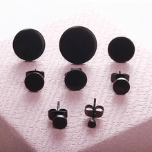 E0296 Stainless Steel Ear Studs Earrings Black Plated Round Shaped With Butterfly Clasp Push Back Earrings Women Men Earrings(China)