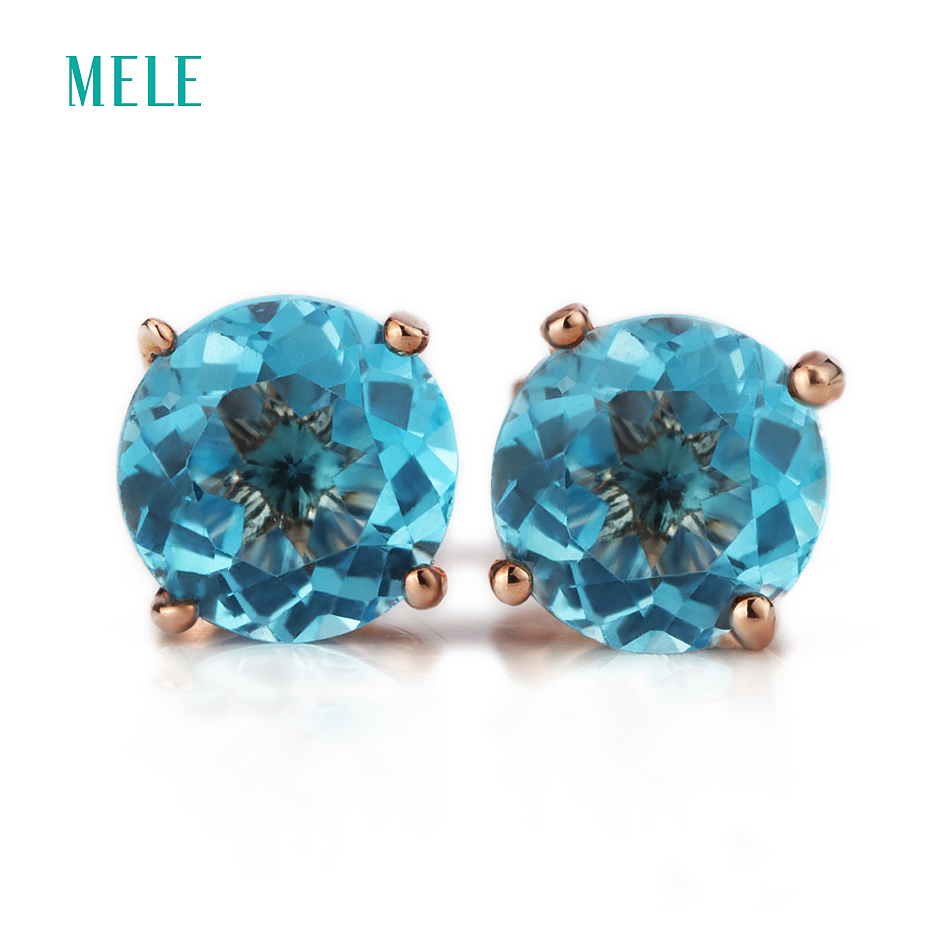 MELE Natural deep blue topaz silver earring round 6mm 6mm tiny but exquisite ocean blue fashion