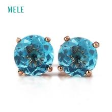 MELE натуральный глубокий голубой топаз серебряные серьги, круглые 6 мм* 6 мм, крошечные, но изысканный, голубой океан, модные и популярные женские ювелирные изделия