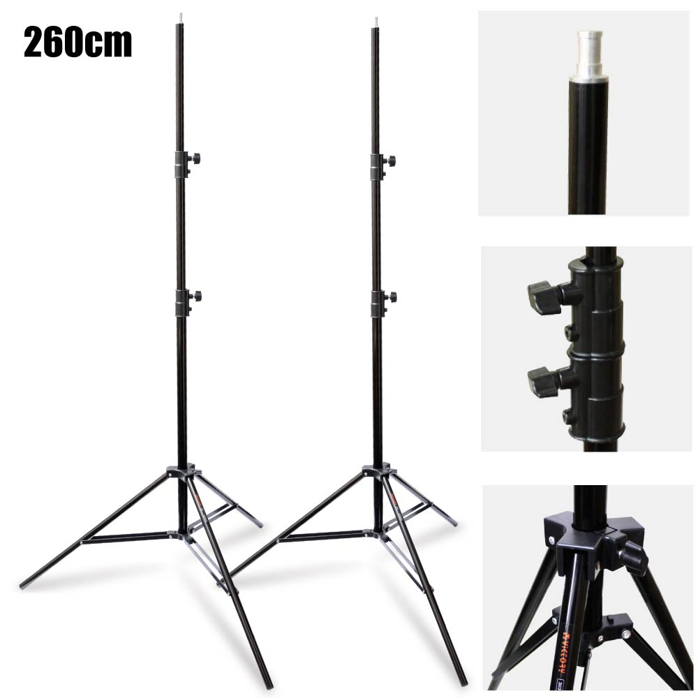 2PCS Studio 303 Aluminum 260cm 2.6m Heavy Duty Spring Cushioned Light Stand for Photography Photo Video Flash Video Light tungfull 46pc spanner socket set 1 4 car repair tool ratchet wrench set cr v hand tools combination bit set tool kit