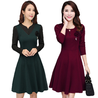 2018 Spring Autumn Dress Women Casual Plus Size M 5XL Middle Aged Mother Long Sleeve A