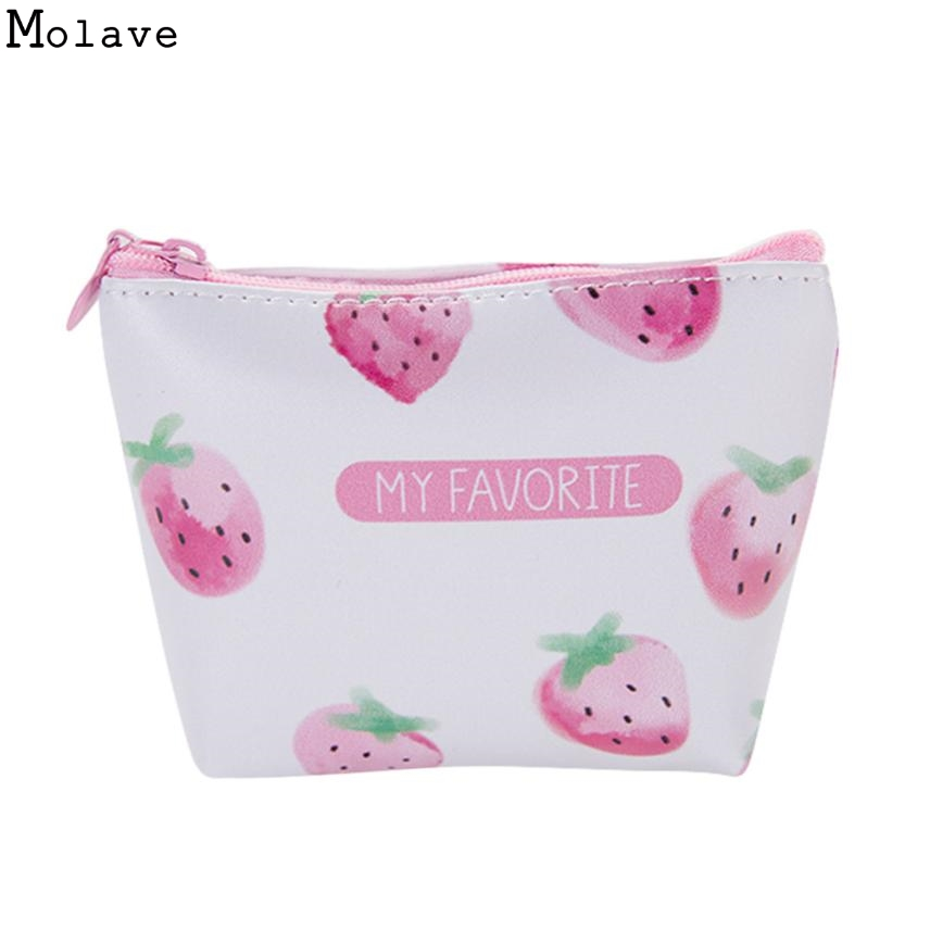 Cute Strawberry Coin Purses Bag Lovely Girls Card Holder Purse Small Zipper Wallet Card Purse Zip Key Case Money Bag D30 new graffiti coin purse zipper pencil case cute portable key card holders purses makeup bag gift girls