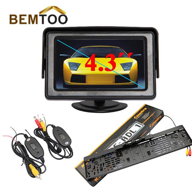 Bemtoo 4.3 ''tft lcd monitor del coche + inalámbrico cámara de visión trasera de matrícula cámara de visión nocturna, envío libre