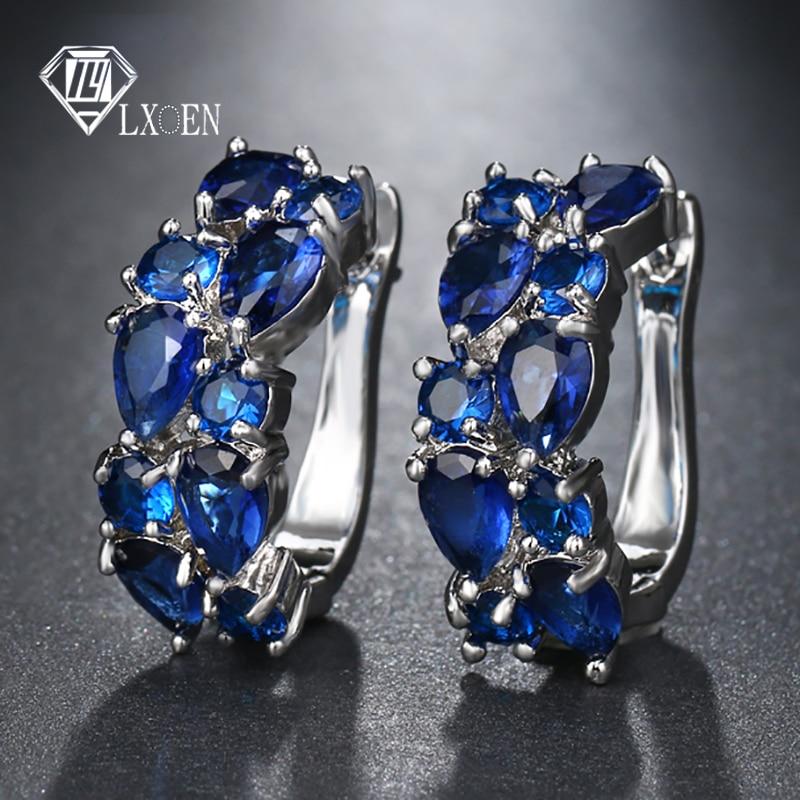 LXOEN 2018 Classic Semi-precious Stone Stud Earrings For Women Silver Color Round Studs Ear Jewelry Brinco Gift Bijoux