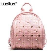 Wellvo заклепки женский рюкзак женщины Перл рюкзак элегантный дизайн Школьные ранцы для подростков высокое качество из искусственной кожи рюкзак XA719b