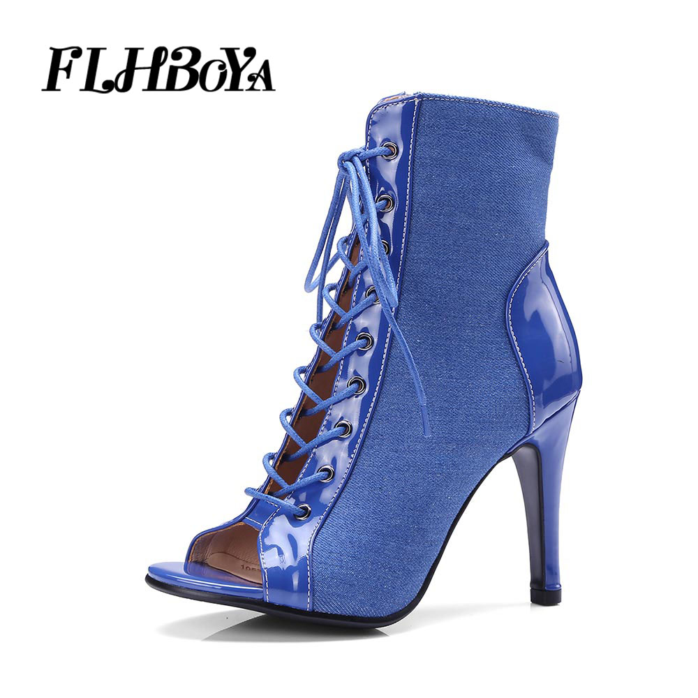 FLHBOYA New Women Fashion Summer Ankle Boots Lace-up Ladies Thin High Heels Peep Toe Short Boot Sexy Sandals Woman Shoes Pumps кольцо из золота д0268 017577