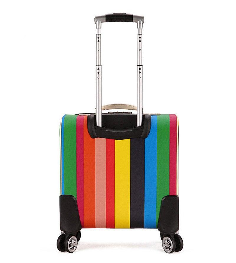 Haute qualité 16 pouces valise de voyage femmes Trolley voyage sacs Spinner roues étudiant roulant bagages embarquement voyage bagages-in Bagages à roulettes from Baggages et sacs    2