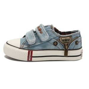 Image 4 - أحذية قماشية للأطفال 2020 أكثر مبيعاً أحذية رياضية للربيع قابلة للتنفس أحذية رياضية للأولاد أحذية أطفال أصلية للبنات جينز مسطح للطالبات من الدنيم